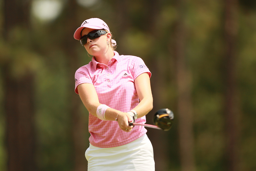 SOUTHERN PINES, NC - JUNE 29:  Paula Creamer follows through on a tee shot during the second round of the 2007 U.S. Women's Open Championship in Southern Pines, North Carolina at Pine Needles Lodge and Golf Club on Friday, June 29, 2007. (Photo by Darren Carroll/Getty Images) *** LOCAL CAPTION *** Paula Creamer
