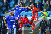 Gillingham FC forward Conor Wilkinson (10) and Walsall midfielder  Adam Chambers  (7) during the EFL Sky Bet League 1 match between Gillingham and Walsall at the MEMS Priestfield Stadium, Gillingham, England on 17 February 2018. Picture by Martin Cole.