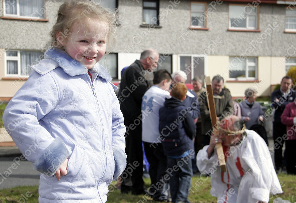 Maeve Gleeson wasn't sure what was going on at the Stations of the Cross in Cloughleigh on Friday morning.<br /> <br /> Photograph by Yvonne Vaughan.
