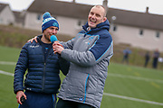 All smiles as the coaching staff talk to the fans after the Open Training Session and press conference for Scotland Rugby at Clydebank Community Sports Hub, Clydebank, Scotland on 13 February 2019.