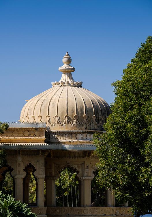 UDAIPUR, INDIA - CIRCA NOVEMBER 2016: Detail of  marble cupola of Jagmandir a luxury hotel in Lake Pichola, Udaipur