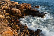 Waves pounding red rocks, Ship Harbor Trail, Acadia National Park, Maine