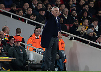 Football - 2018 / 2019 UEFA Europa League - Quarter Final, First Leg Arsenal vs. Napoli <br /> <br /> Carlo Ancelotti [ITA], manager of Napoli,  shouts at his team as they try to comeback from 2-0 down at The Emirates.<br /> <br /> COLORSPORT/DANIEL BEARHAM