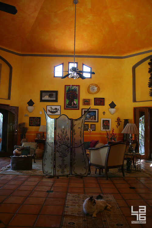 Living room, interior decorated by feng shui rules, featuring soft yellow and orange colors, selected furniture all over the world and a cat Max. <br /> <br /> Photo belongs to a series of photographies taken in Los Barriles, at the East Cape of Baja California Sur, Mexico. The shooting took place for a lifestyle magazine Escapes in February 2009.<br /> <br /> See the photography and feature story in Escapes magazine, March-July 2009, here: http://issuu.com/gruporiveras/docs/escapes_issue3 <br /> <br /> The owners friendly agree for the story and photographs to be re-used and re-written.
