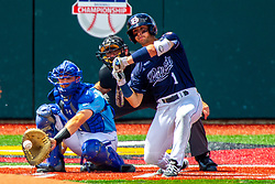 25 May 2019: Max Wright catches, Andres Sosa and Bill McGuire makes the calls. Missouri Valley Conference Baseball Tournament - Dallas Baptist Patriots v Indiana State Sycamores at Duffy Bass Field in Normal IL<br /> <br /> #MVCSPORTS