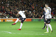 GOAL Charlton Athletic midfielder Tariqe Fosu (11) takes the free kick which leads to Charlton Athletic midfielder Ben Reeves (12) scoring to make the score 1-2 during the EFL Sky Bet League 1 match between Barnsley and Charlton Athletic at Oakwell, Barnsley, England on 29 December 2018.