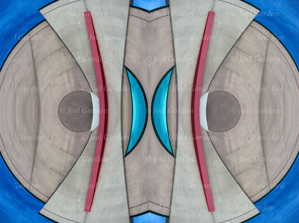 Computer altered abstract mirrored image of art deco elements.<br />