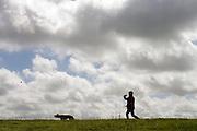 Een vrouw loopt met haar hond langs de kust van de Waddenzee bij Den Helder.