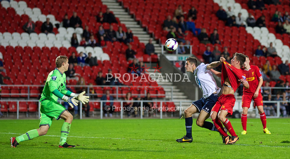 ST HELENS, ENGLAND - Monday, October 7, 2013: Liverpool's Cameron Brannagan in action against Tottenham Hotspur during the Under 21 FA Premier League match at Langtree Park. (Pic by David Rawcliffe/Propaganda)