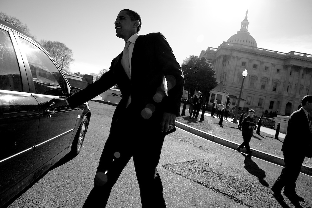 Sen. Barack Obama (D-IL) departs Capitol Hill in Washington, DC, on Thursday, Jan. 4, 2007.  The day was the first of the 110th Congress.