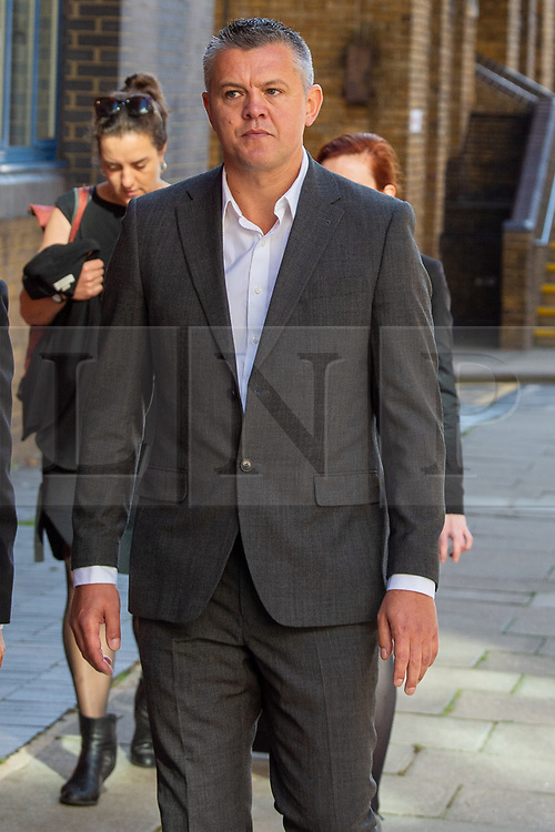 © Licensed to London News Pictures. 22/08/2019. London, UK. Paul Bussetti arrives at Westminster Magistrates' Court. Bussetti is on trial accused of sending a grossly offensive video on WhatsApp. Photo credit: Peter Manning/LNP
