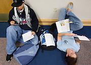 Hubert Escarpeta (left) and Ali Kirkpatrick study in Gordy Hall on Wednesday, 10/17/06.