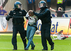 07.05.2011, Commerzbank-Arena, Frankfurt, GER, 1. FBL, Eintracht Frankfurt vs 1.FC Koeln, im Bild ein Randalierer wird abgefuehrt, EXPA Pictures © 2011, PhotoCredit: EXPA/ nph/  Roth       ****** out of GER / SWE / CRO  / BEL ******
