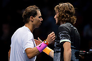 Rafael Nadal of Spain congratulated by Stefanos Tsitsipas of Greece at the net during the Nitto ATP Finals at the O2 Arena, London, United Kingdom on 15 November 2019.