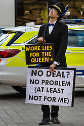 A Jacob Rees-Mogg lookalike stands in Old Palace Yard opposite the Palace of Westminster as Parliament debates a move by MPs to get an extension to Article 50 rather than allowing the Government to leave the EU without a deal on October 31st. London, September 04 2019.