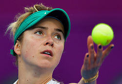 DOHA, Feb. 15, 2019  Elina Svitolina of Ukraine serves during the women's singles quarterfinal between Elina Svitolina of Ukraine and Karolina Muchova of the Czech Republic at the 2019 WTA Qatar Open in Doha, Qatar, Feb. 14, 2019. Elina Svitolina won 2-0. (Credit Image: © Nikku/Xinhua via ZUMA Wire)