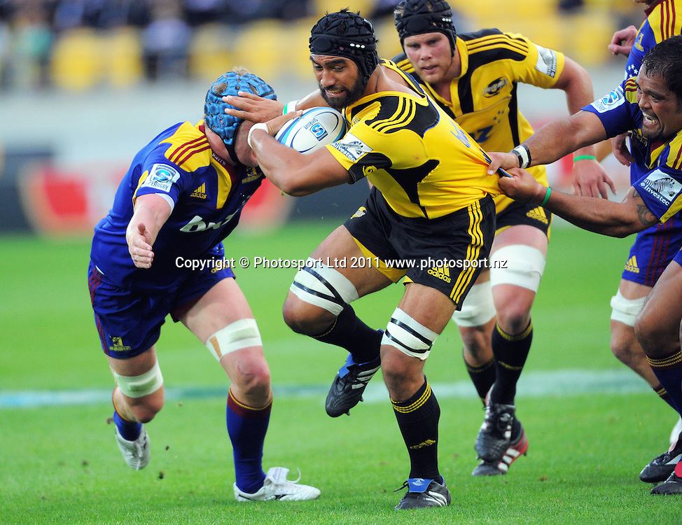 Hurricanes number eight Victor Vito. Super 15 rugby match - Hurricanes v Highlanders at Westpac Stadium, Wellington, New Zealand on Friday, 18 February 2011. Photo: Dave Lintott/PHOTOSPORT