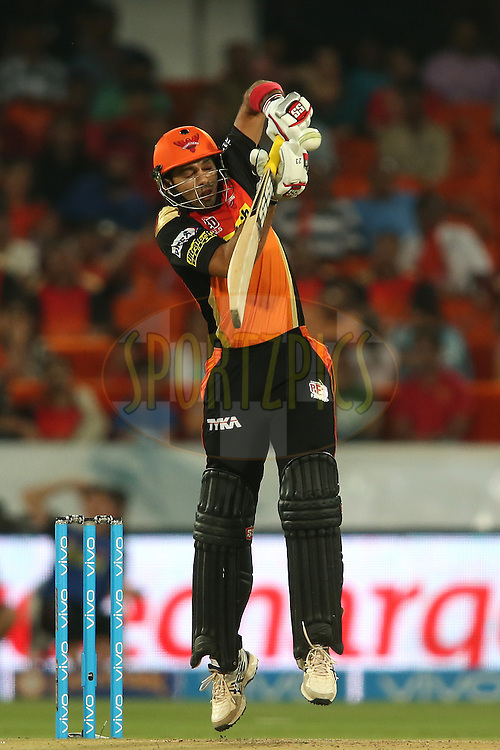 Naman Ojha of Sunrisers Hyderabad defends a delivery during match 22 of the Vivo IPL 2016 (Indian Premier League) between the Sunrisers Hyderabad and the Rising Pune Supergiants held at the Rajiv Gandhi Intl. Cricket Stadium, Hyderabad on the 26th April 2016<br /> <br /> Photo by Shaun Roy / IPL/ SPORTZPICS