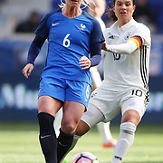 HARRISON, NEW JERSEY- MARCH 4:   Amadine Henry #6 of France challenged by Camille Abily #10 of Germany  during the France Vs Germany SheBelieves Cup International match at Red Bull Arena on March 4, 2017 in Harrison, New Jersey. (Photo by Tim Clayton/Corbis via Getty Images)