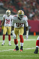 20 January 2013: Linebacker (99) Aldon Smith of the San Francisco 49ers lines up against the Atlanta Falcons during the second half of the 49ers 28-24 victory over the Falcons in the NFC Championship Game at the Georgia Dome in Atlanta, GA.