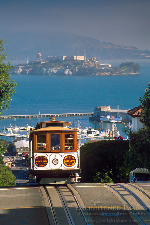Cable Car with San Francisco Bay and Alcatraz in distance, Russian Hill, San Francisco, California