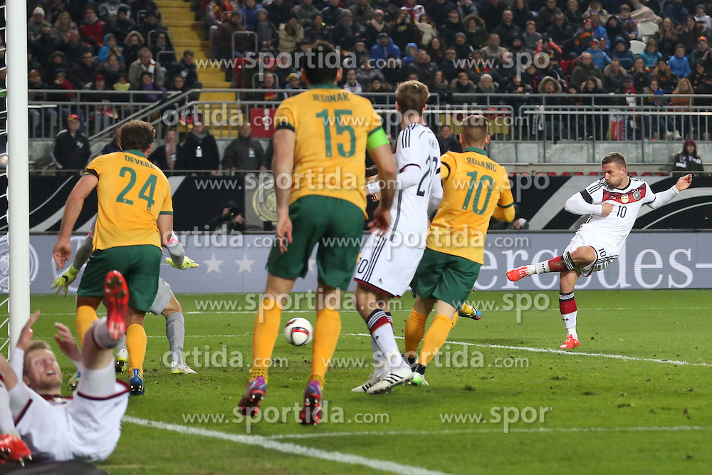 25.03.2015, Fritz Walter Stadion, Kaiserslautern, GER, FS Vorbereitung, Deutschland vs Australien, DFB L&auml;nderspiel, im Bild Lukas Podolski (Inter Mailand) mit dem Tor zum Ausgleich, 2:2 // during the international frindly football macht between Germany and Australia at the Fritz Walter Stadion in Kaiserslautern, Germany on 2015/03/25. EXPA Pictures &copy; 2015, PhotoCredit: EXPA/ Eibner-Pressefoto/ Sch&uuml;ler<br /> <br /> *****ATTENTION - OUT of GER*****