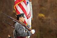 West Point, NY - Members of a West Point color guard stand a attention before Army plays Navy in a rugby match at the Anderson Rugby Center at the United States Military Academy on Nov. 21, 2009. ©Tom Bushey / The Image Works