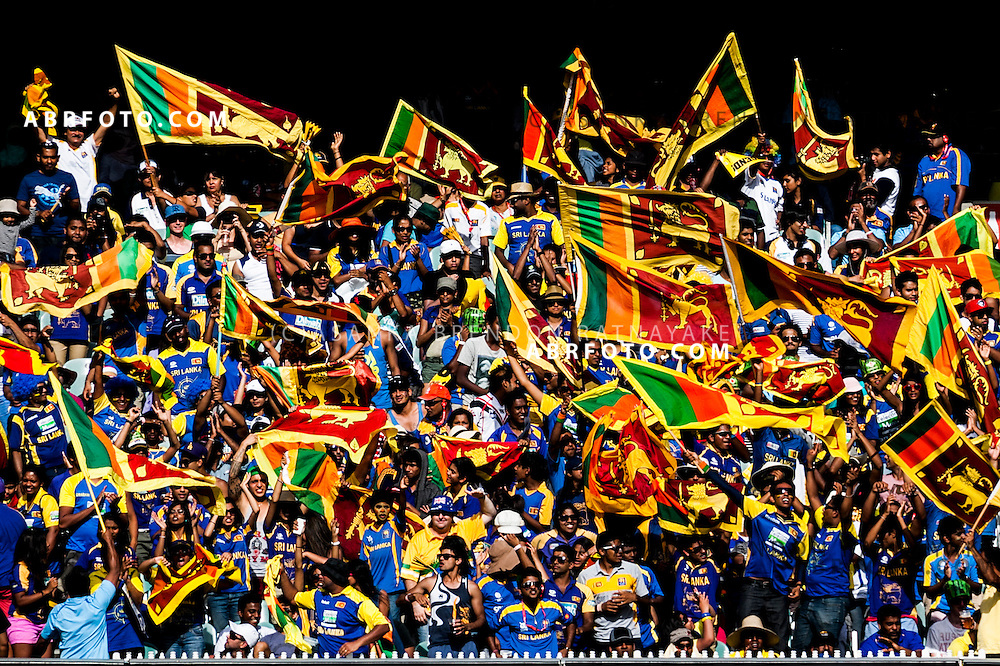 Sri Lankan cricket fans cheer during game 1 of the Commonwealth Bank Series Australia v Sri Lanka played at the Melbourne Cricket Ground in Melbourne,Victoria, Australia. Photo Asanka Brendon Ratnayake