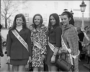 04/01/1969.01/04/1969.04 January 1969.Finalists of Miss/Ireland/Miss Europe Competition at the Mansion House, Dublin. .Munster girls who represented their counties in the final of the Miss Ireland Competition at Naas, Co. Kildare on Sunday 5th January 1969, photographed when they visited the Lord Mayor of Dublin at the Mansion House, (l-r) Tina McLoughlin, Walsh's Hotel, Cappoquin (Miss Waterford), Brenda McCarthy 23, Glanmire Road Cork, (Miss Cork), Jean Ann Crowley, Victoria Hotel, Kilkee, and Malahide , Co. Dublin, (Miss Clare) and Aileen O'Connell, Crotta, Kilflynn, Co. kerry, (Miss Kerry).