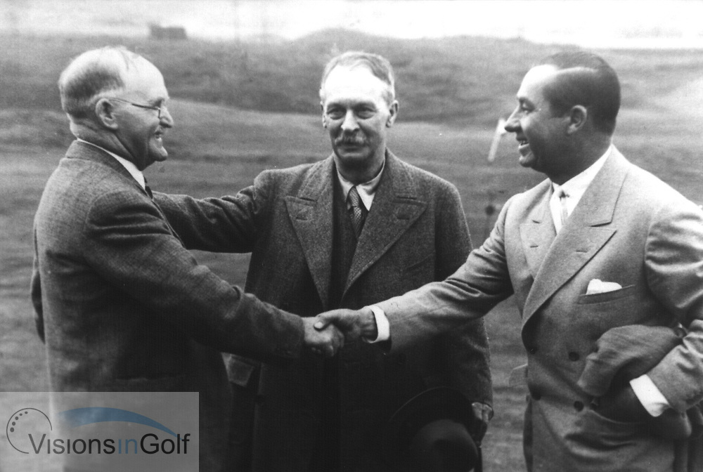The 1933 Ryder Cup Matches  team captains meet Samuel Ryde. L-R.  JH TAYLOR, SAMUEL RYDER (founder of The Ryder Cup Matches, WALTER HAGEN<br /> Picture Credit: &copy;Visions In Golf / Hobbs Golf Collection
