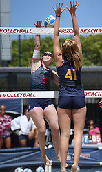 April 7, 2018 - Tucson, AZ, U.S. - TUCSON, AZ - APRIL 07: Arizona Wildcats defender Makenna Martin (2) hits the ball during a college beach volleyball match between the California Golden Bears and the Arizona Wildcats on April 07, 2018, at Bear Down Beach in Tucson, AZ. Arizona defeated California 3-2. (Photo by Jacob Snow/Icon Sportswire (Credit Image: © Jacob Snow/Icon SMI via ZUMA Press)