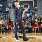 HARTFORD, CONNECTICUT- NOVEMBER 19: Katie Lou Samuelson #33 of the Connecticut Huskies watching warm up with her injured foot in a brace during the the UConn Huskies Vs Maryland Terrapins, NCAA Women's Basketball game at the XL Center, Hartford, Connecticut. November 19th, 2017 (Photo by Tim Clayton/Corbis via Getty Images)