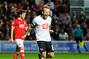 Derby County forward Johnny Russell celebrates scoring the opening goal to give the visitors a 1-0 lead during the Sky Bet Championship match between Bristol City and Derby County at Ashton Gate, Bristol, England on 19 April 2016. Photo by Graham Hunt.