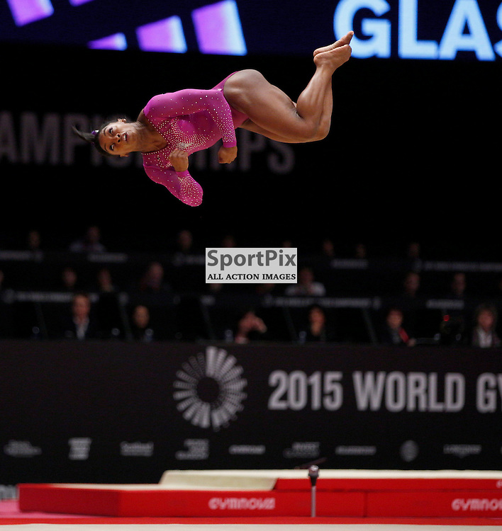 2015 Artistic Gymnastics World Championships being held in Glasgow from 23rd October to 1st November 2015.....Simone Biles (USA) performs in the Floor Exercise on Day 2 of the Women's & Men's Apparatus Final...(c) STEPHEN LAWSON | SportPix.org.uk