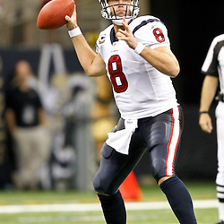 September 25, 2011; New Orleans, LA, USA; Houston Texans quarterback Matt Schaub (8) against the New Orleans Saints during the third quarter at the Louisiana Superdome. The Saints defeated the Texans 40-33. Mandatory Credit: Derick E. Hingle