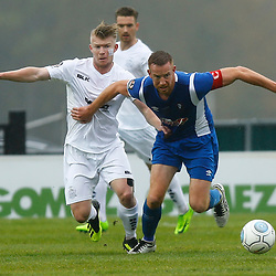 Salford's forward Adam Rooney keeps Dovers defender George Smith at bay during the National League match between Dover Athletic FC and Salford City FC at Crabble Stadium, Kent on 06 October 2018. Photo by Matt Bristow.