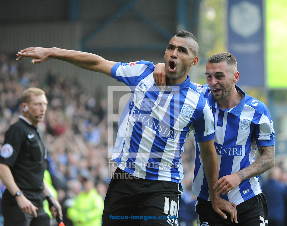 Lewis McGugan (L) of Sheffield Wednesday celebrates scoring to make it 3-1 during the Sky Bet Championship match at Hillsborough, Sheffield<br /> Picture by Richard Land/Focus Images Ltd +44 7713 507003<br /> 03/10/2015