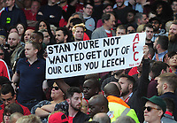 Football - 2016 / 2017 Premier League - Arsenal vs. Everton<br /> <br /> Banner telling Arsenal Share holder Stan Kroenke to leave the club at The Emirates.<br /> <br /> COLORSPORT/ANDREW COWIE