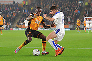 Andrej Kramaric of Leicester City and Hull City midfielder Moses Odubajo fight for the ballduring the Capital One Cup Fourth Round match between Hull City and Leicester City at the KC Stadium, Kingston upon Hull, England on 27 October 2015. Photo by Ian Lyall.