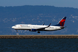 Boeing 737-832 (N3742C) operated by Delta Air Lines landing at San Francisco International Airport (KSFO), San Francisco, California, United States of America