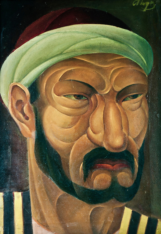 Nukus, Uzbekistan 28 March 2012..Artist: A. F. Podkovirov (1889-1957).Title: Head of Basmach.Date: 1920 .Technique: Oil on Canvas. The State Art Museum of the Republic of Karakalpakstan, named after I.V. Savitsky is an art museum based in Nukus, Uzbekistan. Opened in 1966, the museum houses a collection of over 82,000 items, ranging from antiquities from Khorezm to Karakalpak folk art, Uzbek fine art and, uniquely, the second largest collection of Russian avant-garde in the world (after the Russian Museum in St. Petersburg)..The museum represents the lifes work of Igor Savitsky, whose legacy, which includes thousands of artistic and cultural treasures on permanent exhibition, make this building one of the most interesting repositories of ancient and modern art.