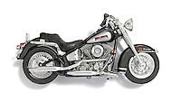 Harley Davidson toy motorcycle on white background