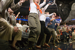 UVA Fans react to Virginia guard Sean Singletary's (44) game winning steal and basket against ODU.  The Virginia Cavaliers men's basketball team defeated the Old Dominion Monarchs 80-76 in the second round of the College Basketball Invitational (CBI) at the University of Virginia's John Paul Jones Arena in Charlottesville, VA on March 24, 2008.