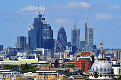 © Licensed to London News Pictures. 22/06/2017. <br /> GREENWICH, UK.<br /> City view from Greenwich Park.<br /> Hot sunny weather day today in Greenwich Park,London as people look forward to a mini heatwave all next week.<br /> Photo credit: Grant Falvey/LNP