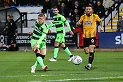 Forest Green Rovers Matthew Worthington(21) shoots at goal scores a goal 1-3 during the EFL Sky Bet League 2 match between Cambridge United and Forest Green Rovers at the Cambs Glass Stadium, Cambridge, England on 2 October 2018.
