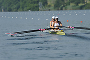 Lucerne, Switzerland. USA1 W2X. Bow, Stesha CARLE and Kathleen BERTKO, move away at the start. FISA World Cup at the Lucerne, Rotsee Regatta Course 09:30:25   Friday  09/07/2010.  [Mandatory Credit Peter Spurrier/ Intersport Images]