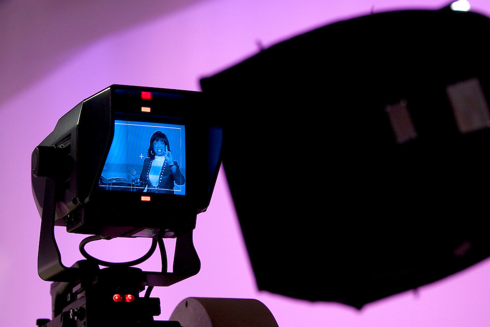 SPECIAL TO THE PALM BEACH POST---A Home Shopping Network television camera shows Adrienne Arpel during a live show for her Signature A cosmetics on Friday, March 18, 2005 in St. Petersburg, Fla. (AP Photo/Scott Audette)