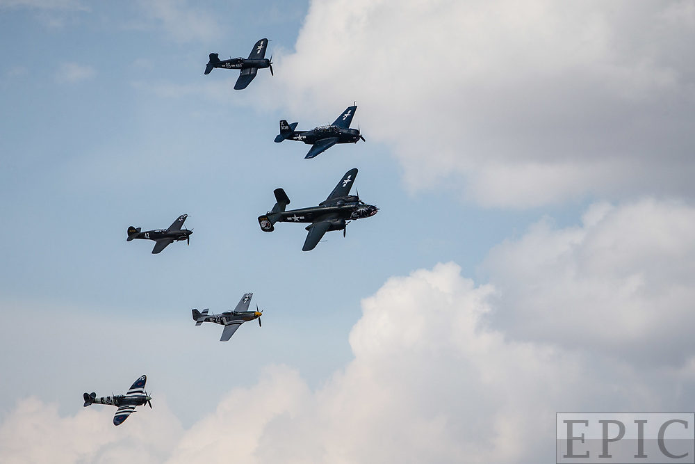RENO, NV - SEPTEMBER 14: The Texas Flying Legends Museum does a flyover during the Reno Championship Air Races  on September 14, 2017 in Reno, Nevada. (Photo by Jonathan Devich/Getty Images) *** Local Caption ***