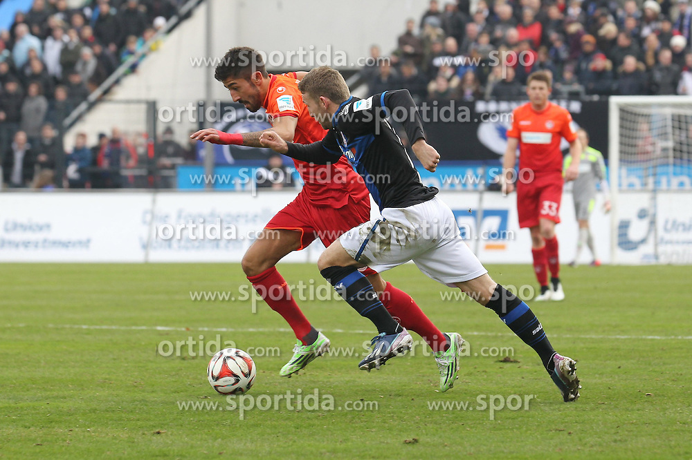 22.02.2015, Frankfurter Volksbank Stadion, Frankfurt, GER, 2. FBL, FSV Frankfurt vs 1. FC Kaiserslautern, 22. Runde, im Bild Laufduell zwischen Kerem Demirbay (Kaiserslautern) u. Alexander Huber (FSV Frankfurt) // during the 2nd German Bundesliga 22nd round match betweenFSV Frankfurt and 1. FC Kaiserslautern at the Frankfurter Volksbank Stadion in Frankfurt, Germany on 2015/02/22. EXPA Pictures &copy; 2015, PhotoCredit: EXPA/ Eibner-Pressefoto/ Roskaritz<br /> <br /> *****ATTENTION - OUT of GER*****