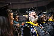 Voinovich School gradautes (Left to Right) Saruul Damdinbal, John Robin Strohl and Lucy Kafui Akosua Kavi attend grauate commencement. Photo by Ben Siegel